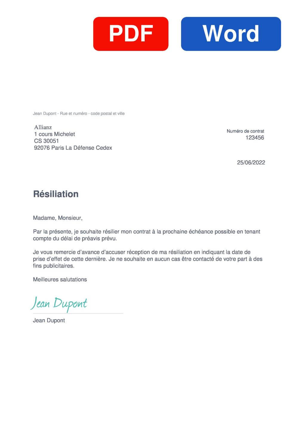 AGF Allianz Santé Assurance Modèle de lettre de résiliation
