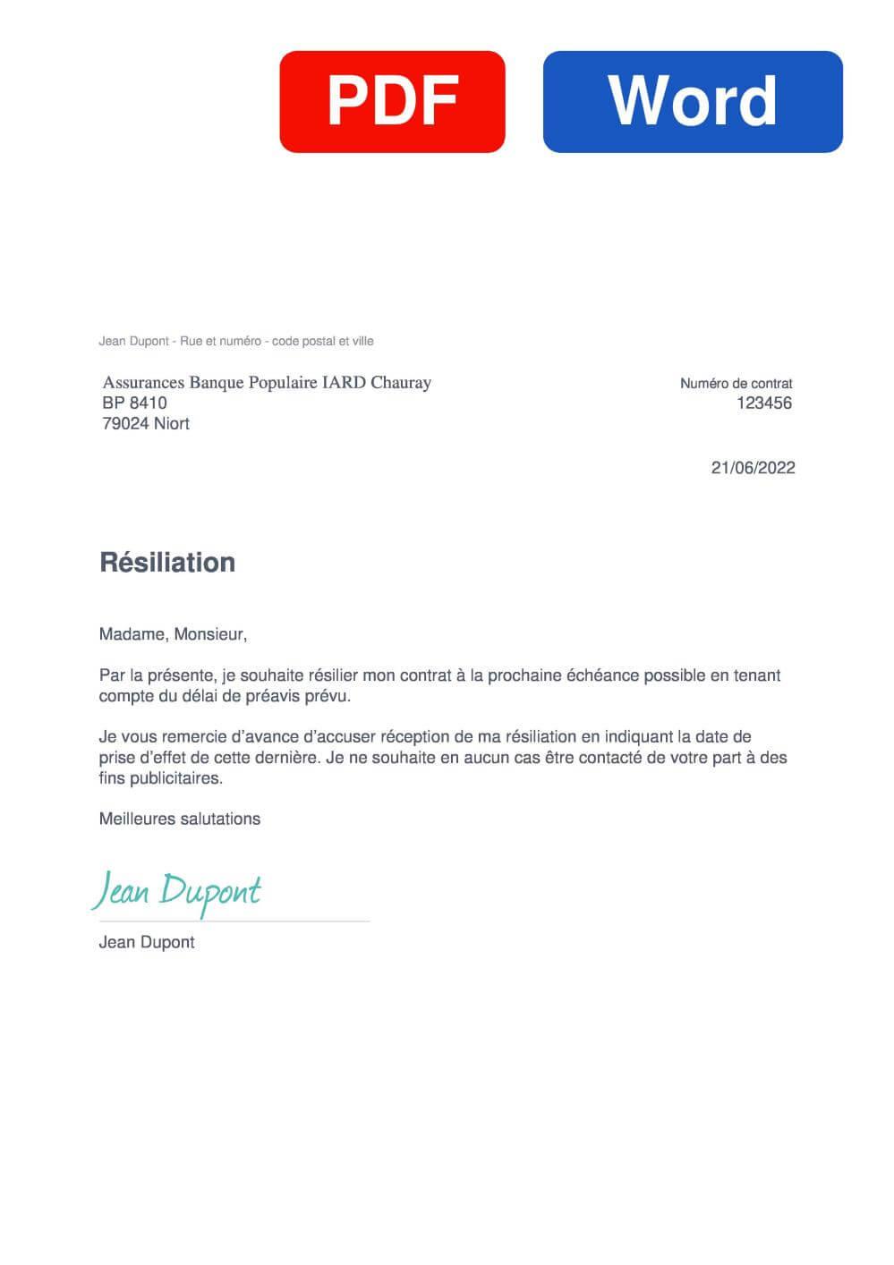 Banque Populaire IARD Habitation Assurance Modèle de lettre de résiliation