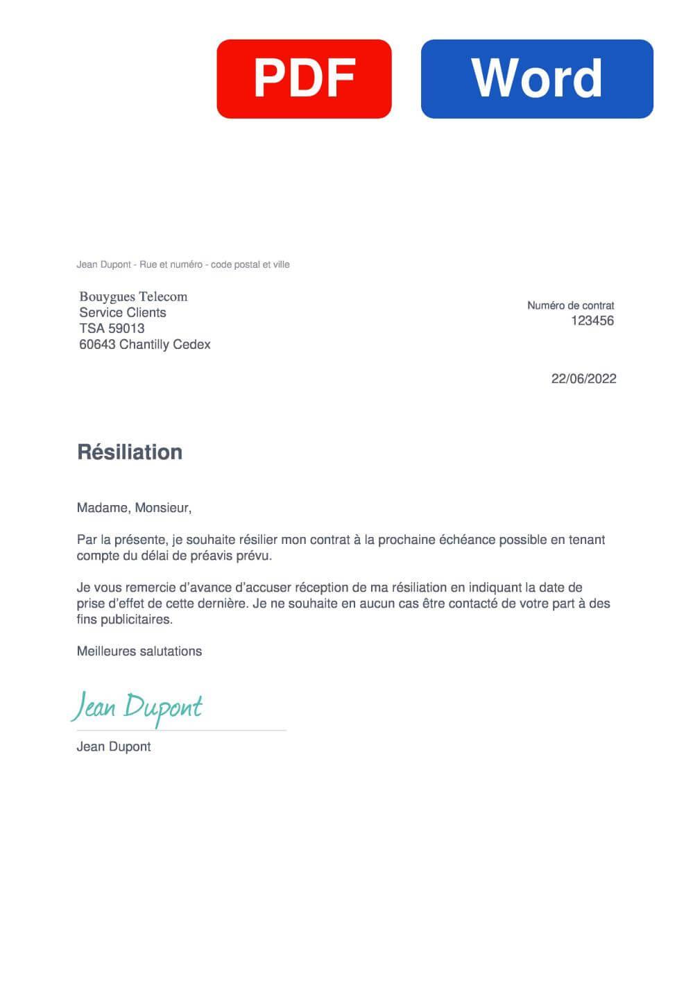 Bouygues Télécom Modèle de lettre de résiliation