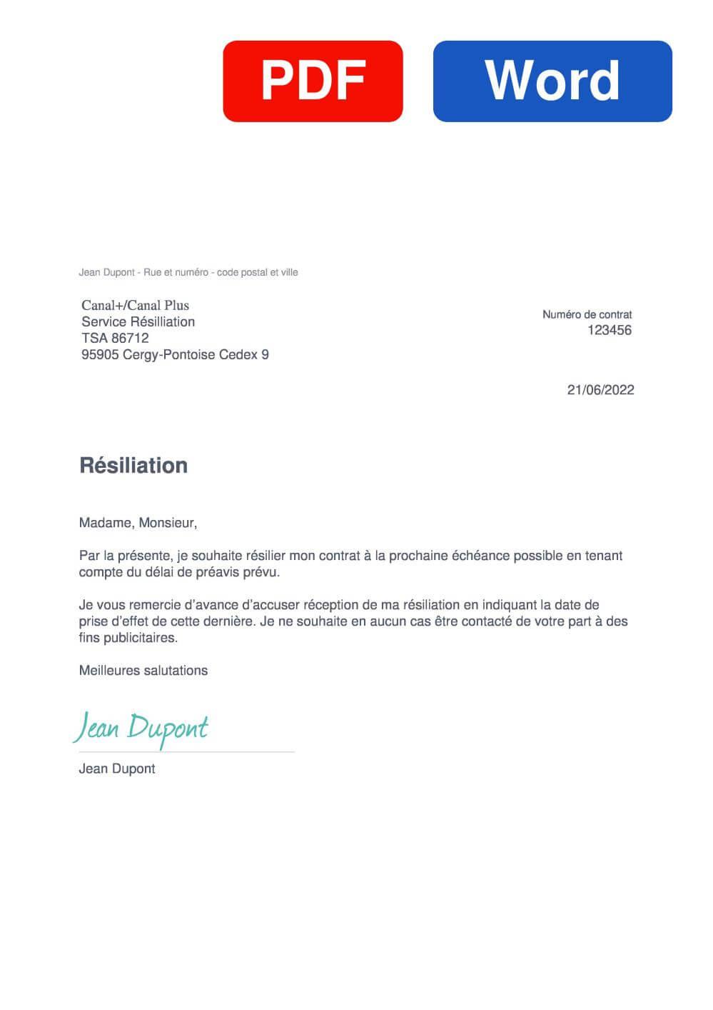 CANAL PLUS Modèle de lettre de résiliation
