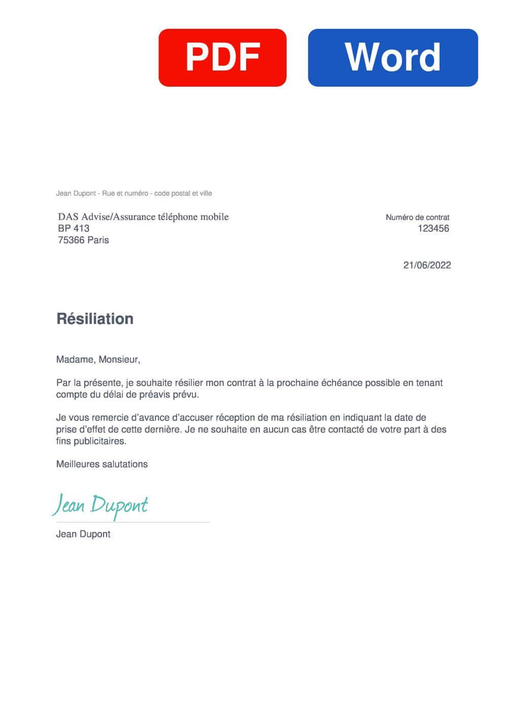 DAS mobile Assurance Modèle de lettre de résiliation