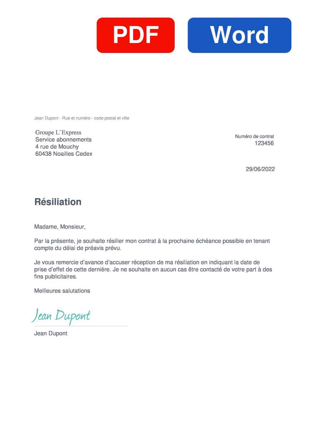 Drum part Modèle de lettre de résiliation