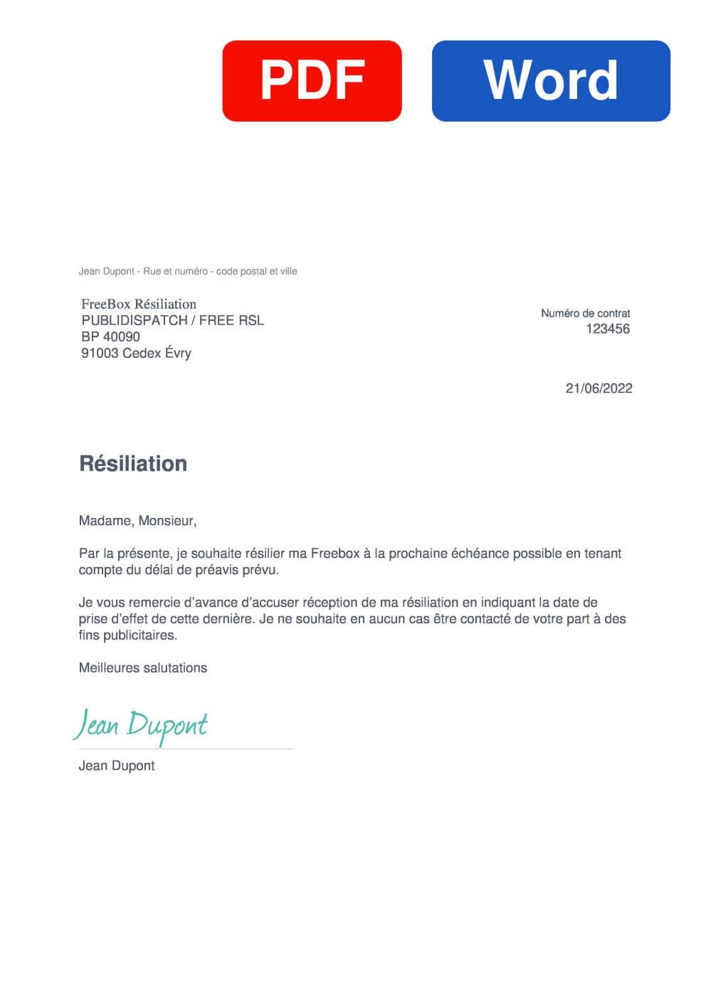 Free Freebox Modèle de lettre de résiliation