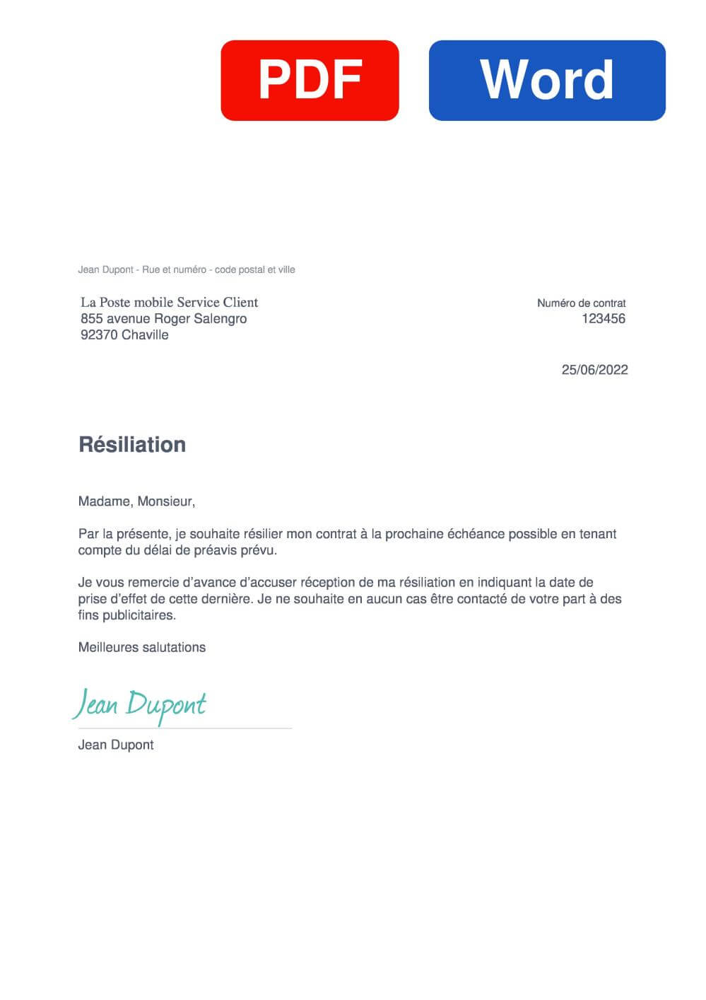 La Poste mobile Assurance Modèle de lettre de résiliation