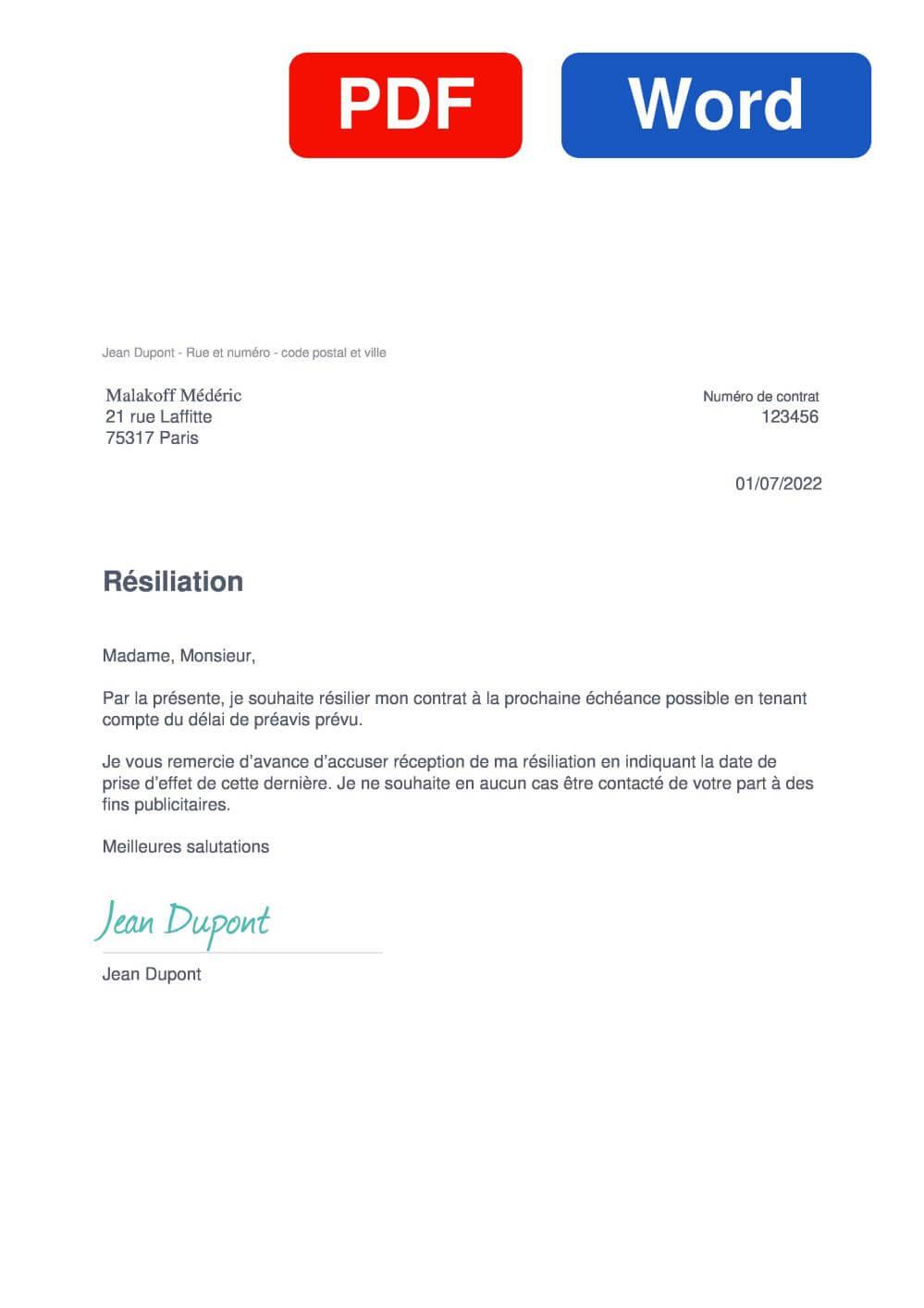 Malakoff Médéric Santé Assurance Modèle de lettre de résiliation