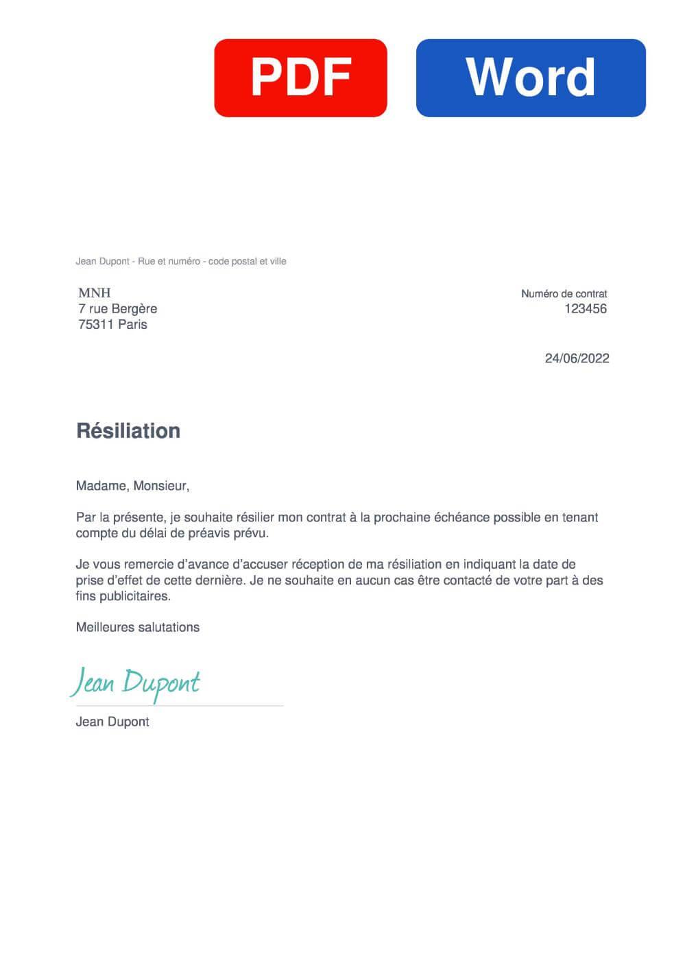 MNH Santé Assurance Modèle de lettre de résiliation