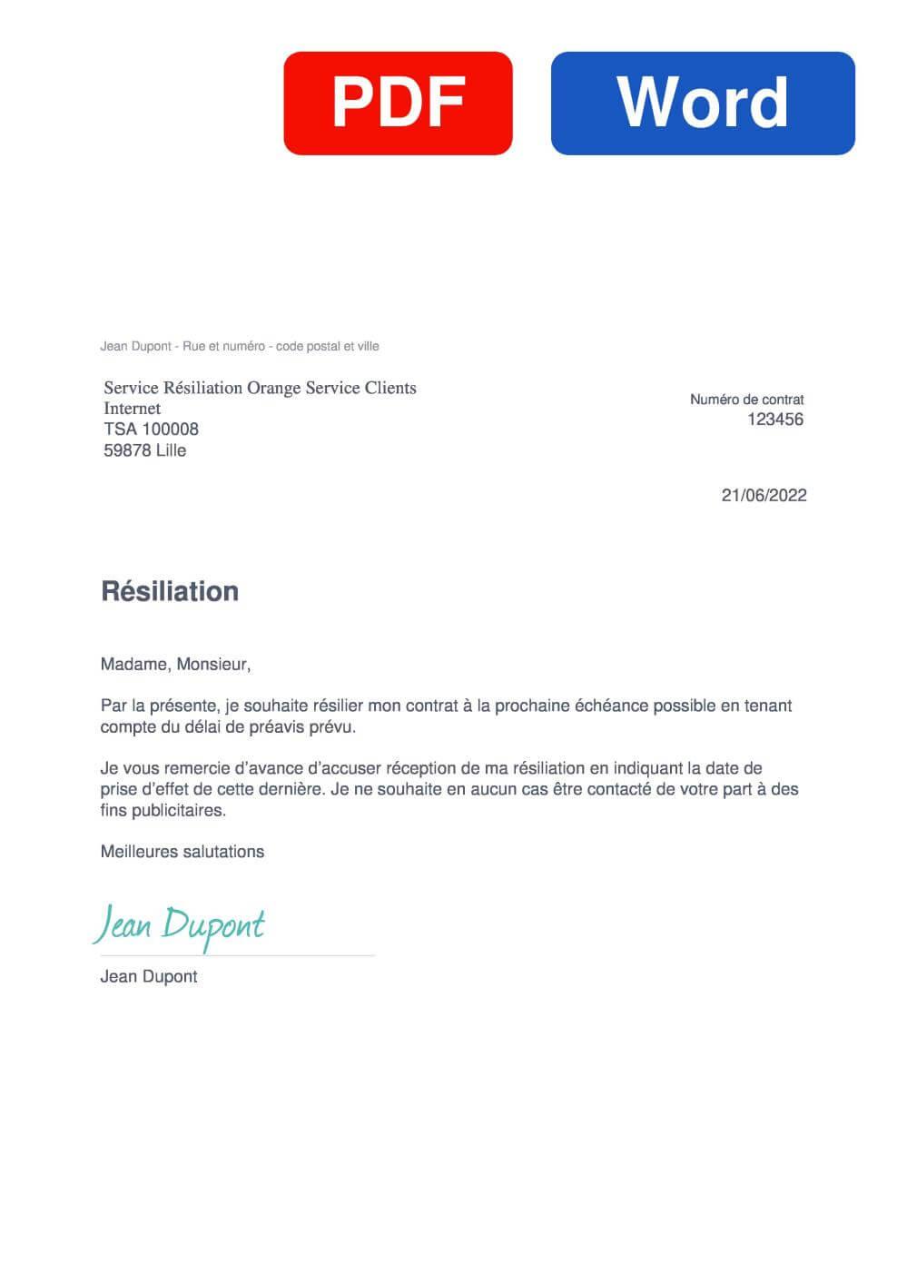 Orange internet Modèle de lettre de résiliation