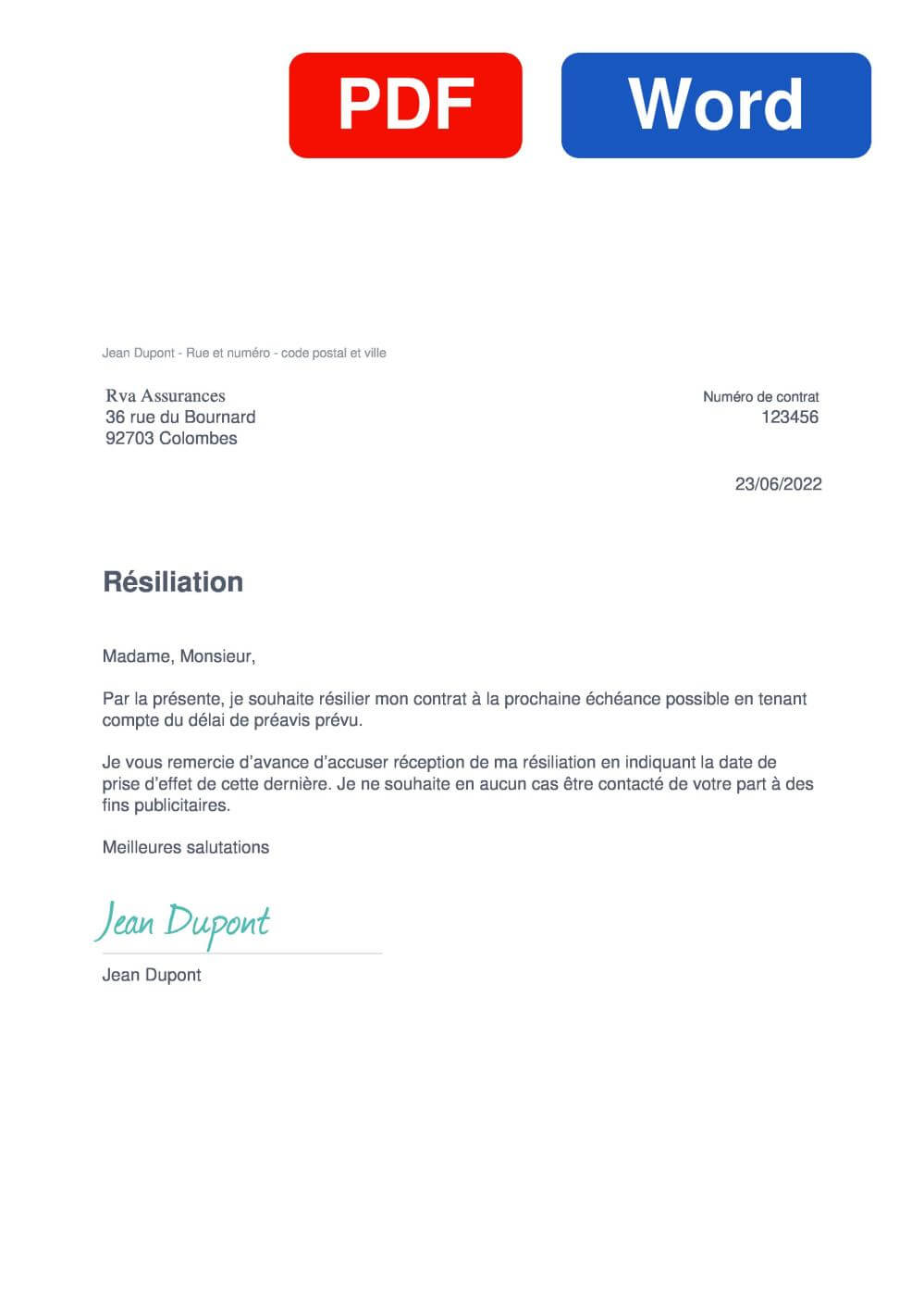 RVA Habitation Assurance Modèle de lettre de résiliation