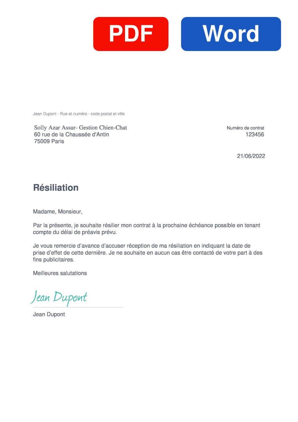 Solly Azar Animaux Assurance Modèle de lettre de résiliation