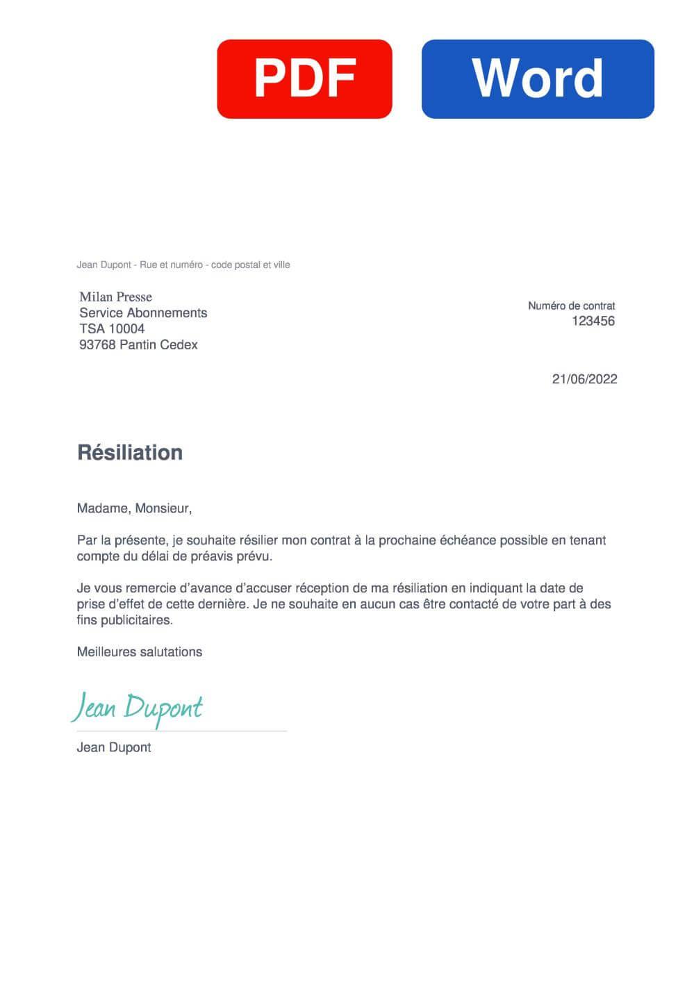 Wakou Modèle de lettre de résiliation