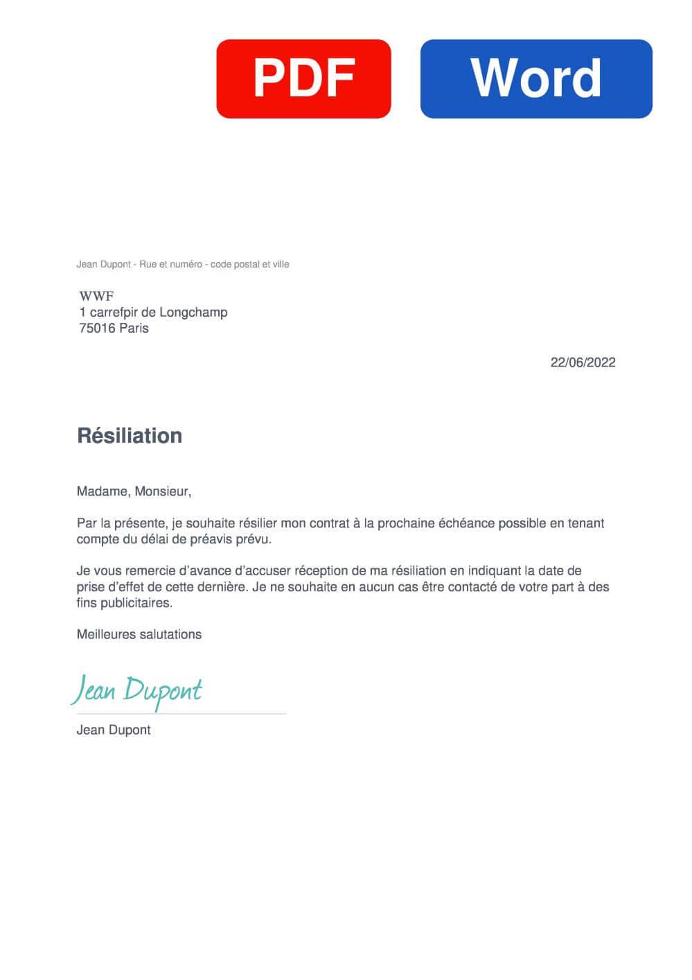 WWF Modèle de lettre de résiliation
